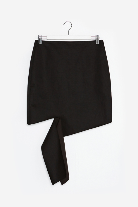 16FW UNBALANCE CUTTING SKIRT (BLACK)