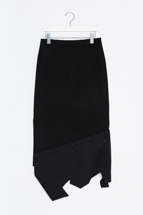 16FW DETACHABLE BUTTON TRIM SKIRT