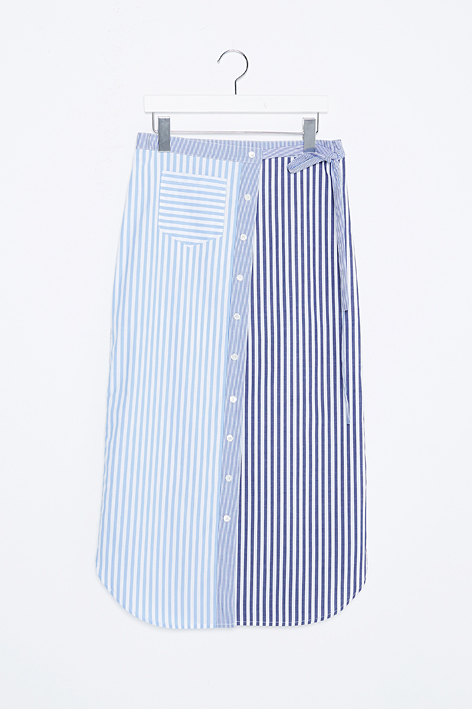 16FW STRIPE BLOCK WRAPPED SKIRT
