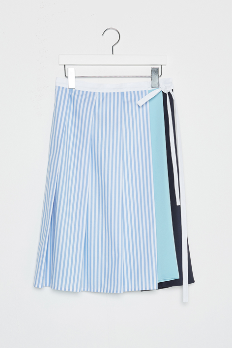 16FW STRIPE PLEATS WRAPPED SKIRT