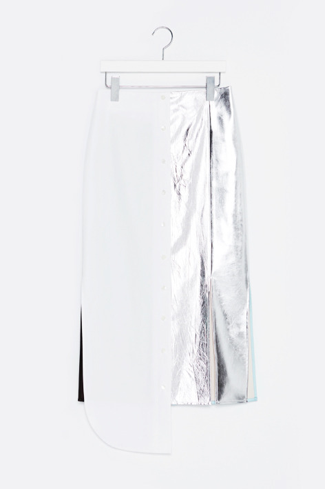 16FW METALLIC SIGNATURE BLOCK SKIRT