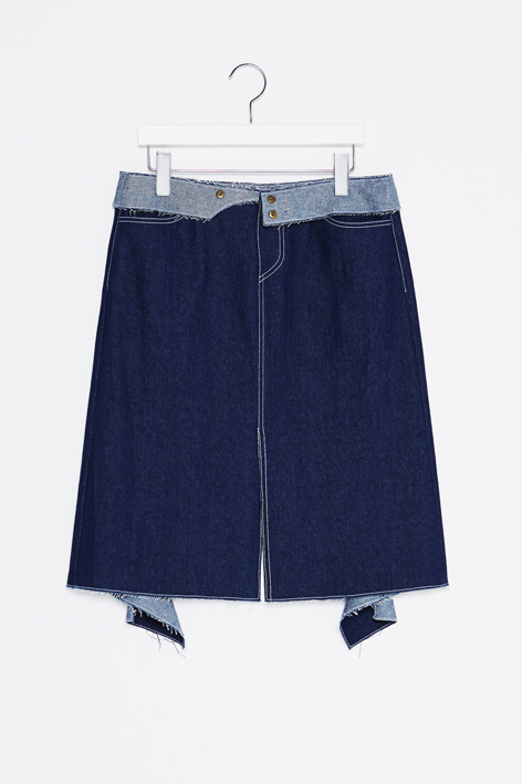 16FW PANEL WAISTBAND DENIM SKIRT